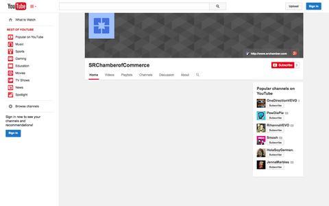 Screenshot of YouTube Page youtube.com - SRChamberofCommerce  - YouTube - captured Oct. 23, 2014