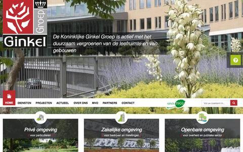 Screenshot of Home Page ginkelgroep.nl - Home - Hoveniersbedrijf Koninklijke Ginkel Groep - captured Sept. 6, 2015