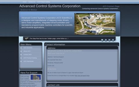 Screenshot of Contact Page Maps & Directions Page acsmotion.com - ACS Scientific Contact Page - captured Oct. 4, 2014