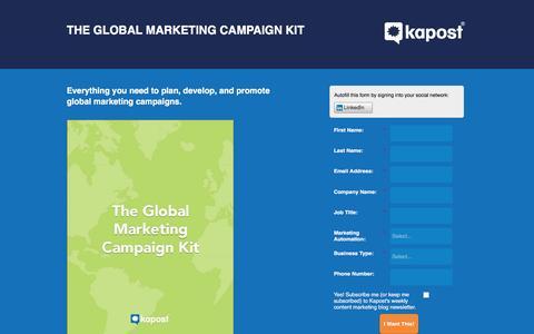 Screenshot of Landing Page kapost.com - The Global Marketing Campaign Kit | Kapost - captured March 14, 2016