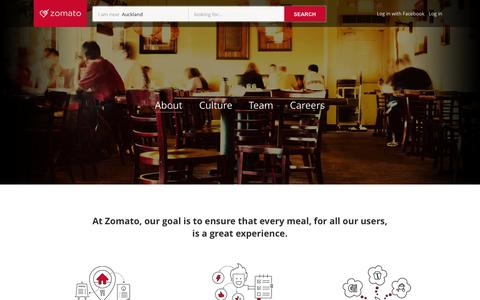 Screenshot of About Page zomato.com - About | Zomato - captured Oct. 28, 2014