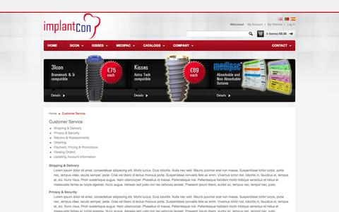 Screenshot of Support Page implantcon.com - Customer Service - captured Oct. 6, 2014