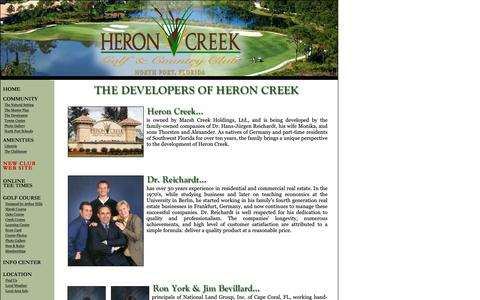 Screenshot of Developers Page heron-creek.com - Heron Creek Golf & Country Club - North Port, Florida - captured Sept. 28, 2018