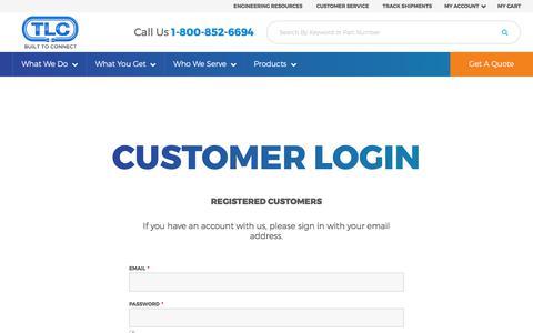 Screenshot of Login Page tlcelectronics.com - Customer Login - captured Nov. 2, 2017