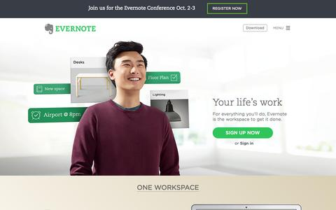 Screenshot of Home Page evernote.com - The workspace for your life's work | Evernote - captured Sept. 16, 2014