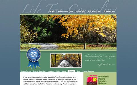 Screenshot of Contact Page lifetreecounseling.com - Contact Life Tree Counseling - captured Oct. 2, 2014