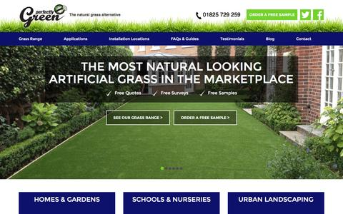 Screenshot of Home Page perfectlygreen.co.uk - Quality Artificial Grass, Turf & Lawns - Perfectly Green - captured Jan. 27, 2016