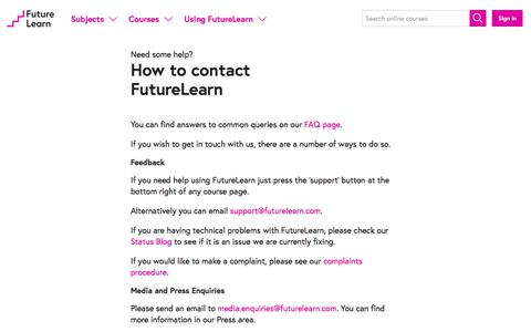 Screenshot of Contact Page futurelearn.com - How to contact FutureLearn - FutureLearn - captured Feb. 10, 2020