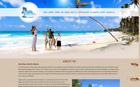 Screenshot of About Page marysboon.com - Mary's Boon Hotel Located in Simpson Bay – St MaartenABOUT US » Mary's Boon Hotel Located in Simpson Bay - St Maarten - captured Oct. 27, 2014