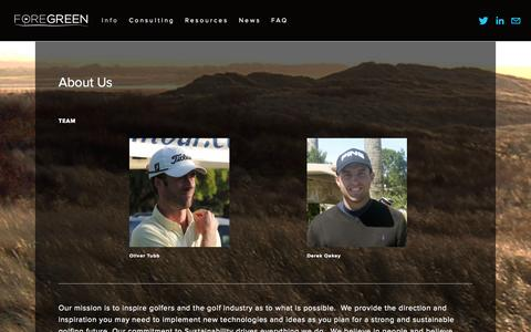 Screenshot of About Page foregreen.com - About Us — FORE GREEN - captured Sept. 30, 2014