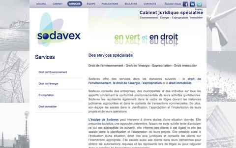 Screenshot of Services Page sodavex.com - Services - Sodavex Inc. | Cabinet juridique spécialisé - captured Oct. 6, 2014