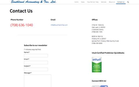 Screenshot of Contact Page southland-tax.com - Contact Us | Southland Accounting & Tax - captured Oct. 7, 2014