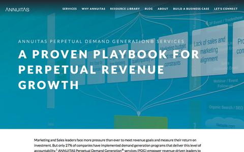 Screenshot of Services Page annuitas.com - ANNUITAS Perpetual Demand Generation Services for Revenue Growth - captured June 29, 2018