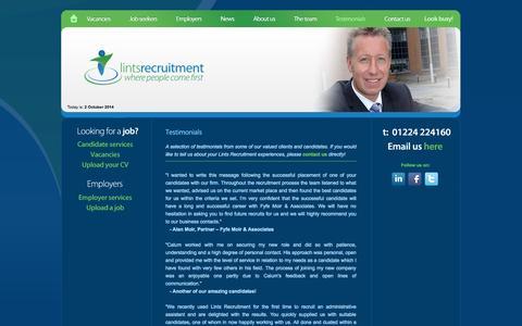 Screenshot of Testimonials Page lintsrecruitment.com - Testimonials - Lints Recruitment Ltd - Aberdeen Recruitment Agency - captured Oct. 2, 2014