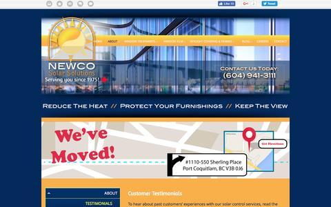 Screenshot of Testimonials Page newcosolarsolutions.ca - Lower Mainland Window Solutions   Testimonials   Newco Solar Solutions - captured Aug. 13, 2016