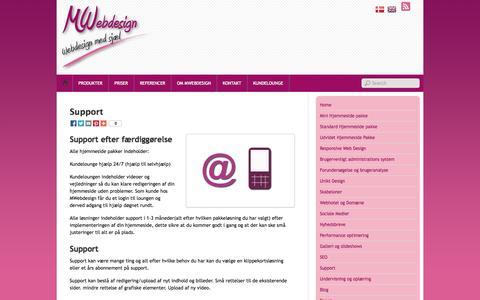 Screenshot of Support Page mwebdesign.dk - MWebdesign tilbyder excellent support på alle hjemmeside løsninger - captured Sept. 30, 2014