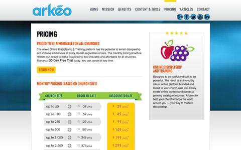 Screenshot of Pricing Page arkeo.com - Pricing   arkēo - captured Sept. 30, 2014
