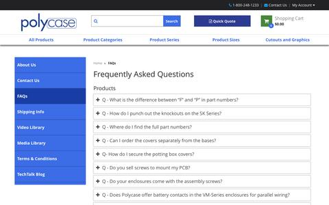 Screenshot of FAQ Page polycase.com - Frequently Asked Questions | Polycase - captured Nov. 7, 2016