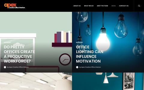 Screenshot of Press Page apex-office.com - News – Apex Office Interiors - captured Oct. 8, 2017