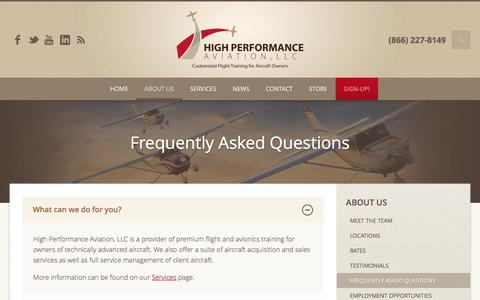 Screenshot of FAQ Page flyhpa.com - Frequently Asked Questions | High Performance Aviation, LLC | Customized Flight Training for Aircraft Owners - captured Nov. 8, 2016