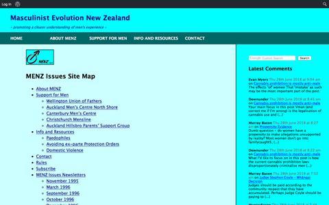 Screenshot of Site Map Page menz.org.nz - Sitemap – MENZ Issues - captured June 27, 2018