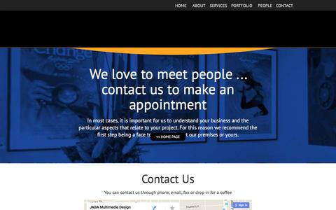 Screenshot of Contact Page jaba.com.au - Web developer Adelaide - Contact Us – Jaba Multimedia Design - captured March 4, 2016