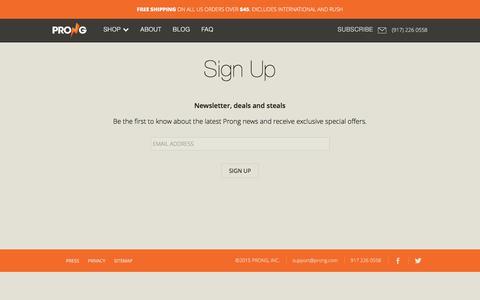 Screenshot of Signup Page prong.com - Sign Up - captured Dec. 29, 2015