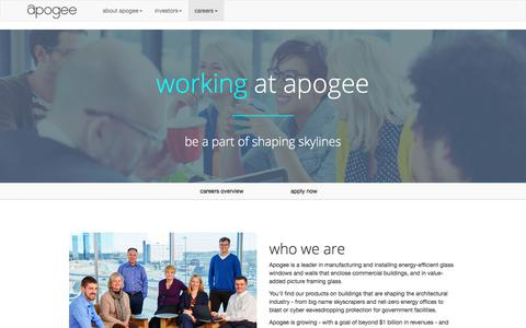 Screenshot of Jobs Page apog.com - Apogee Careers - captured Oct. 8, 2017
