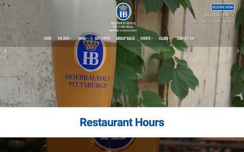 Screenshot of Hours Page hofbrauhauspittsburgh.com - Hours - Hofbrauhaus Pittsburgh - captured Dec. 15, 2018