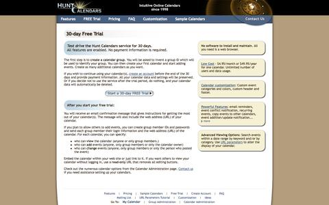 Screenshot of Trial Page huntcal.com - Hunt Calendars 30-day Free Trial. - captured Nov. 4, 2014