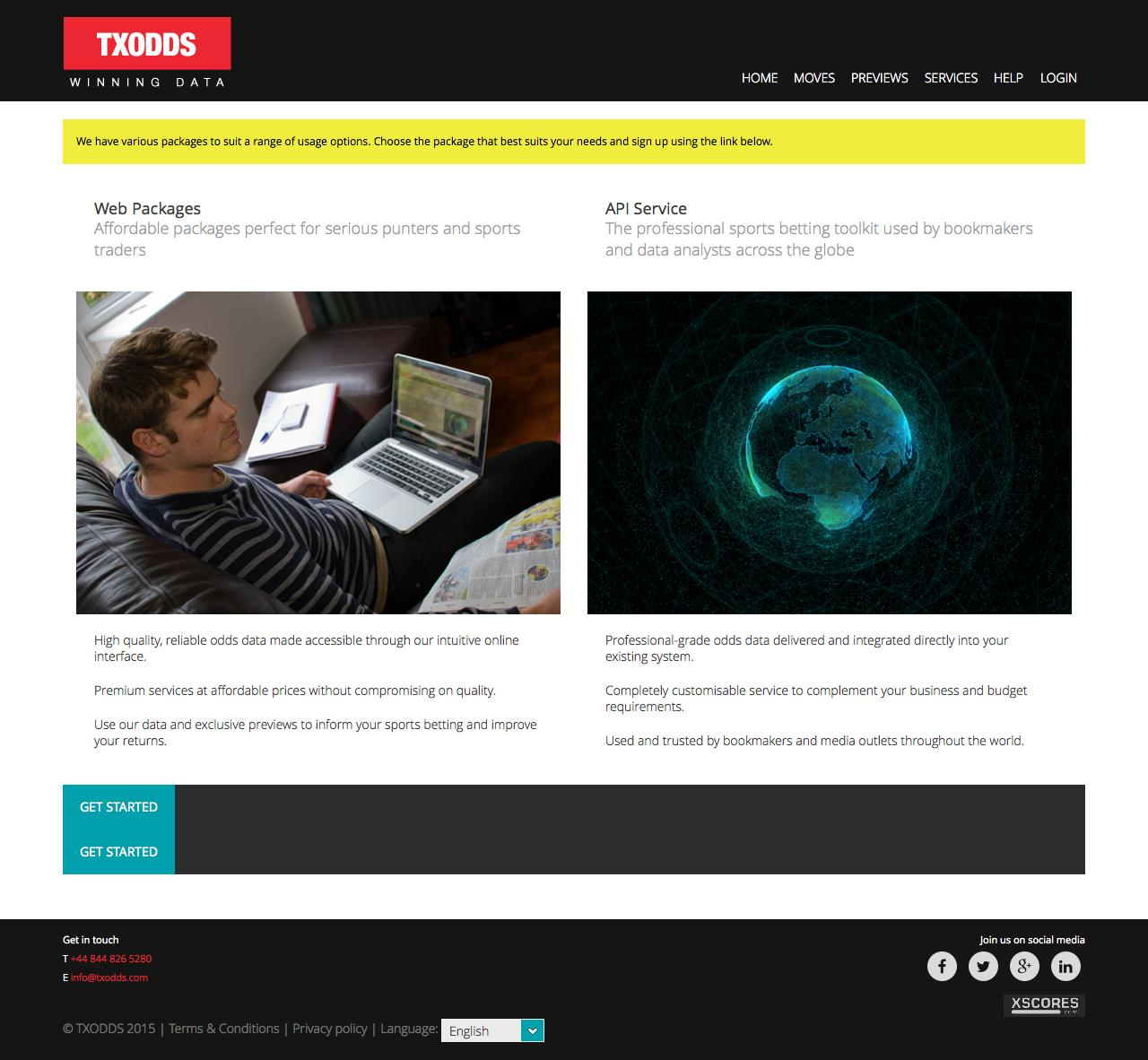 Web Design Example | A page on txodds com | Crayon