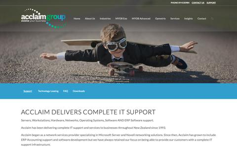 Screenshot of Support Page acclaimgroup.co.nz - Support – Acclaim Group - captured Oct. 31, 2018