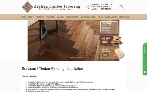 Screenshot of Services Page zealseaflooring.com - Services / Timber Flooring Installation | Zealsea - captured Feb. 17, 2018
