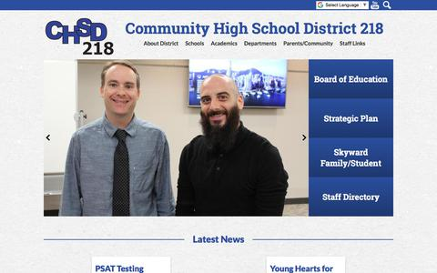 Screenshot of Home Page chsd218.org - Community High School District 218 - captured Sept. 25, 2018