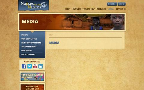 Screenshot of Press Page nursesforthenations.org - Media - Nurses For The Nations - captured Oct. 9, 2014