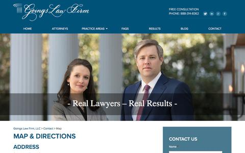 Screenshot of Maps & Directions Page goingslawfirm.com - Map   Goings Law Firm, LLC - captured July 21, 2018