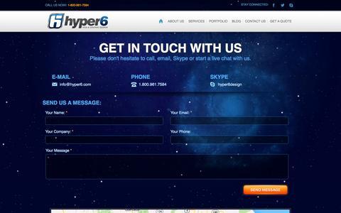 Screenshot of Contact Page hyper6.com - Hyper6 | Contact Us - captured Oct. 31, 2014