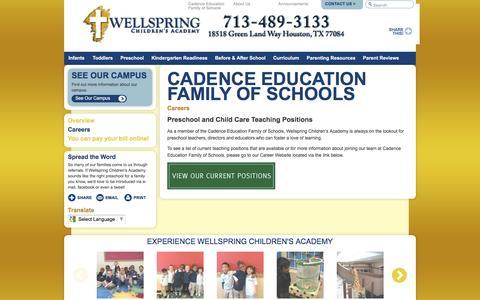 Screenshot of Jobs Page wellspringchildrensacademy.com - Teaching Jobs in TX   Wellspring Children's Academy - captured Aug. 19, 2016