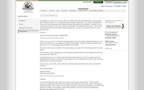 Screenshot of Testimonials Page clubcorp.com - Testimonials / Host an Event / Polo Golf & Country Club / Clubs / Home - ClubCorp - captured Nov. 8, 2016