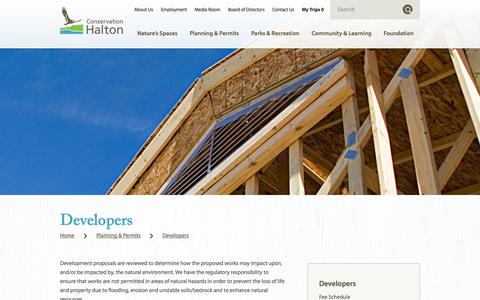 Screenshot of Developers Page conservationhalton.ca - Developers — Conservation Halton - captured Sept. 30, 2014