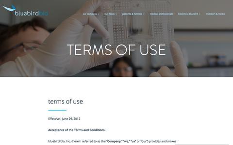 Screenshot of Terms Page bluebirdbio.com - Terms of Use - Bluebird Bio - captured Dec. 15, 2016