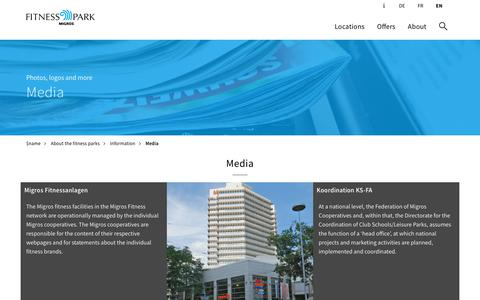 Screenshot of Press Page fitnesspark.ch - Information for media professionals - Fitnesspark - captured Sept. 22, 2018