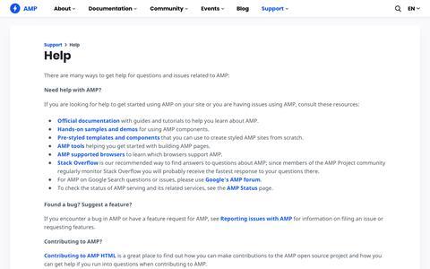 Screenshot of Support Page amp.dev - Help - amp.dev - captured Oct. 3, 2019