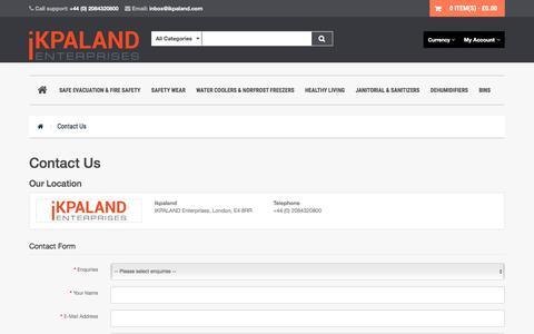 Screenshot of Contact Page ikpaland.com - Contact Us - captured Sept. 8, 2016