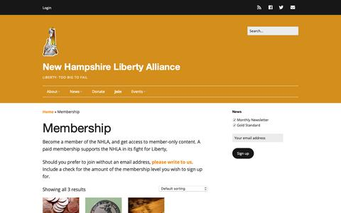 Screenshot of Signup Page nhliberty.org - Membership - NHLA - captured Oct. 19, 2018
