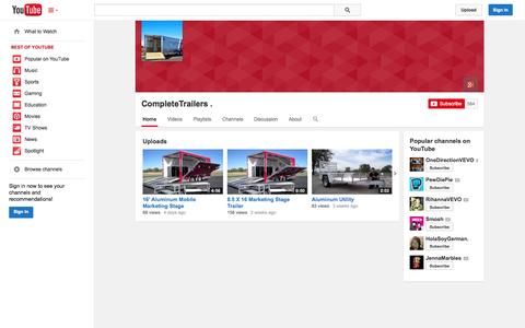 Screenshot of YouTube Page youtube.com - CompleteTrailers .  - YouTube - captured Oct. 23, 2014