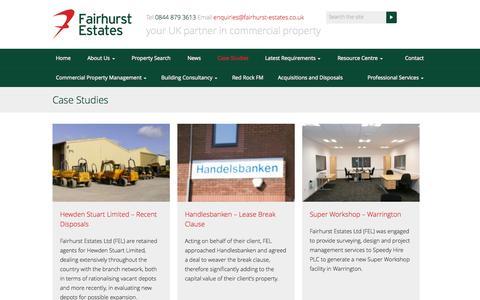 Screenshot of Case Studies Page fairhurst-estates.co.uk - Case Studies Archive - Fairhurst Estates - captured Sept. 30, 2014