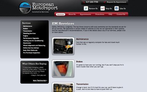 Screenshot of Services Page emsport.net - Services - captured Oct. 2, 2014