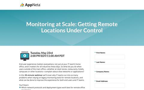 Screenshot of Landing Page appneta.com - Monitoring at Scale: Getting Remote Locations Under Control - captured Oct. 3, 2018