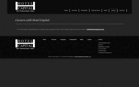 Screenshot of Jobs Page hotelcapital.com - Hotel Capital :: Debt | Preferred Equity | Equity - captured Sept. 29, 2018